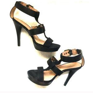 Nine West Black Strappy High Heel Shoe Sz 7.5